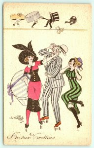 Artist Signed~Paris Glamour Art Deco~Fashion Gals Tip Gent's Derby~Hats w/ Legs