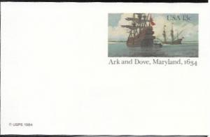US Postcard mint - Ark and Dove, Maryland,1634.   Issued in 1984.  Ships.