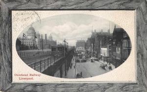 Liverpool England birds eye view overhead railway antique pc Z46042
