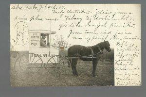 Abie NEBRASKA RP 1907 R.F.D. MAILMAN Buggy Wagon RFD USPS nr Fremont Columbus