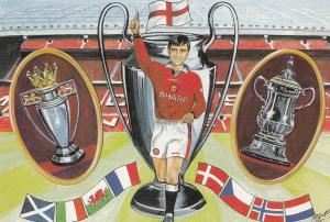 Manchester United FC Cup Premiership Win Double 1996 Postcard