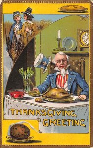 Uncle Sam Thanksgiving Greetings USA 1909