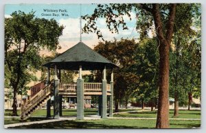 Green Bay Wisconsin~Whitney Park Band Stand~Horse Buggy on Street~c1912 Postcard