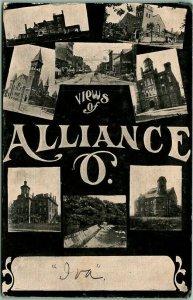 1910s ALLIANCE Ohio Postcard Big Letter / Multi-View Churches School c1900s