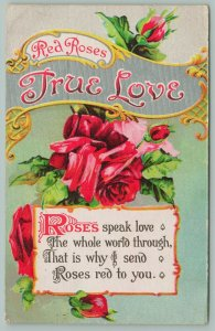 True Love Silver Banner~Red Roses n Red Buds~Poem~Roses Speak Love~Art Nouveau