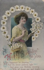 Happy BIRTHDAY to You; 00-10s; Woman with basket of daisies, Ring of daisies