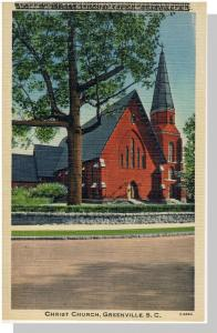 Greenville, SC Postcard, Christ Church, Printer's Error