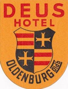 Germany Oldenburg Deus Hotel Vintage Luggage Label sk3087