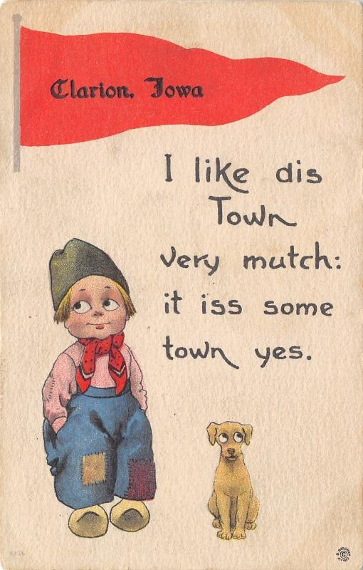 Clarion IA I Like Dis Town Very Mutch, It Iss Some Town Yes~Puppy Dog c1915