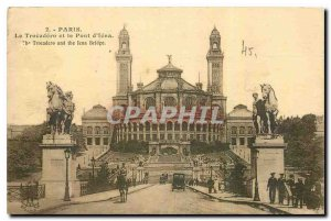 Old Postcard Paris Trocadero and the Jena Bridge