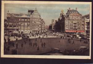P1511 1958 unused postcard many people traffic street view amsterdam holland