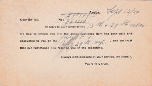 ARUBA, N. W. I., 1940; Aruba bank, account notice