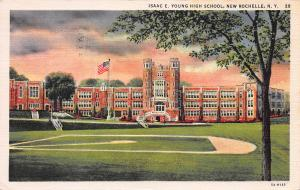 Isaac E. Young High School, New Rochelle, N.Y., early postcard, Used in 1939