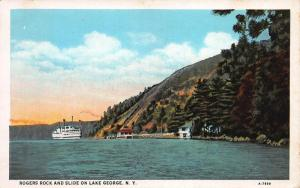 Rogers Rock and Slide On Lake George, New York, Early Postcard, Used in 1929