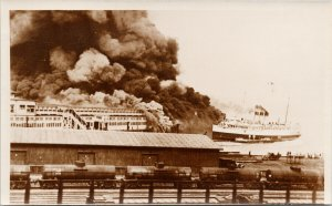 Fire at CPR Dock 1938 Vancouver BC Princess Charlotte RPPC Postcard G15 *as is
