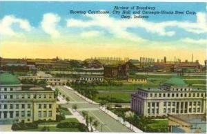 Airview Of Broadway, Showing Courthouse, City Hall & Carnegie-Illinois Steel ...