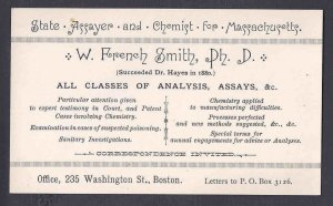 Ca 1900 W. FRENCH SMITH CHEMIST & ASSAYER, LAW & LEGAL SUPPORT, BOSTON MASS