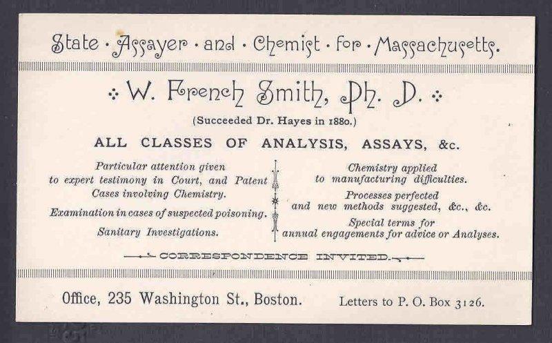 Ca 1900 W. FRENCH SMITH CHEMIST & ASSAYER, LAW & LEGAL SUPPORT, BOSTON MASS