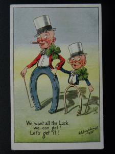 Good Luck WE WANT ALL THE LUCK c1912 Postcard by Raphael Tuck 8813