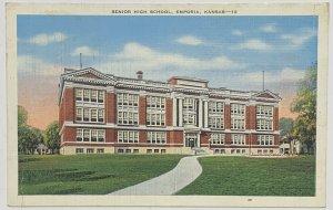 Old Vintage Linen Era Postcard Senior High School, Empora, Kansas Unposted