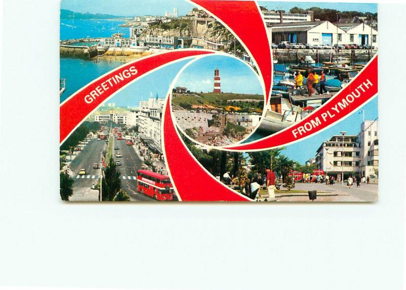 Postcard England Great Britain Plymouth Greetings Lighthouse ...