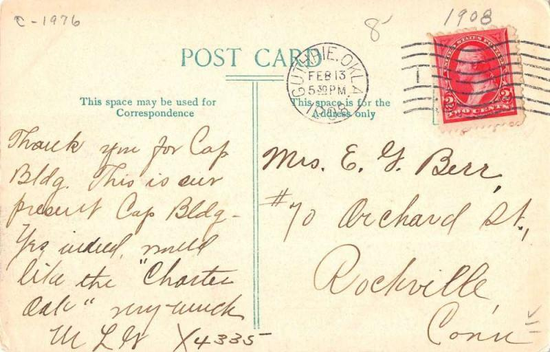Guthrie Oklahoma Court House Street View Antique Postcard K39025