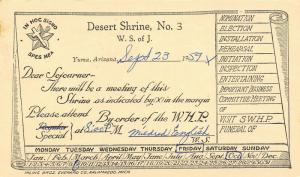 Yuma Arizona~Desert Shrine No 3~White Shrine of Jerusalem~Initiation~1959 Postal