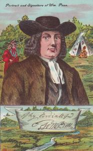 Portrait and Signature of William Penn, Native Americans, 00-10s