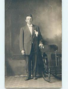Pre-1924 rppc HANDSOME MAN IN SUIT BY ROCKING CHAIR - GAY INTEREST HM0731