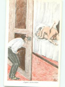 foreign c1910 Risque peeping tom MAN WATCHES FRENCH COUPLE HAVING SEX AB7322