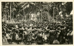 PC CPA PAPUA NEW GUINEA, NATIVE TRIBAL SCENE, REAL PHOTO Postcard (b19779)