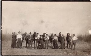 Portrait of Adults w/ Horses Photographer Camera Unused Real Photo Postcard E26