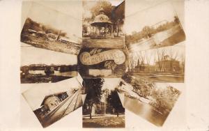 Marengo Iowa~Factory~Bridges~Schools~Railroad Depot~Church~River Boat RPPC c1909