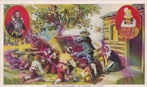 Jamestown Settlers Repelling An Indian Attack