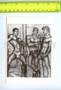 219207 Tom of FINLAND gay theme drawing old postcard