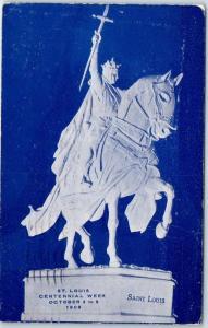1909 ST. LOUIS CENTENNIAL WEEK Missouri Postcard Statue View w/ MO Cancel