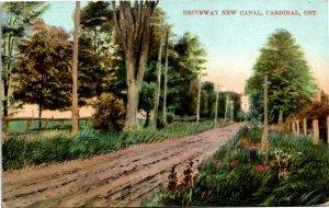 Postcard ON Cardinal Driveway New Canal Dirt Road 1909 K12