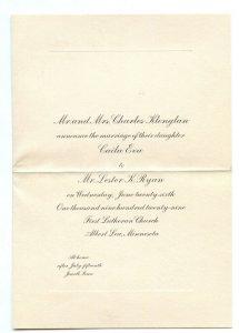1929 Marriage Announcement Caila Eva Klonglan Albert Lea Minnesota
