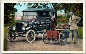 c1920s Michigan Postcard The First & Ten-Millionth Ford Henry Ford Unused