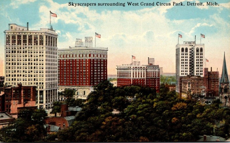 MIchigan Detroit Skyscrapers Surrounding West Grand Circus Park Curteich