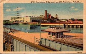 Minnesota International Falls International Bridge and Paper Mill 1954 Curteich
