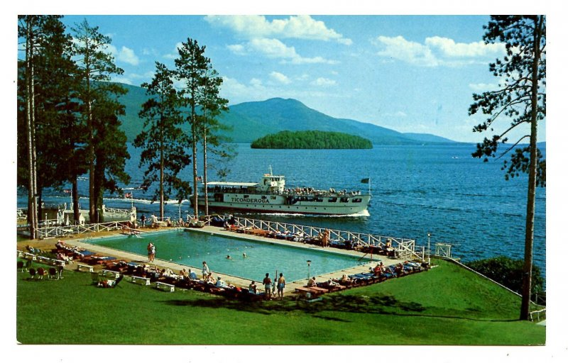 NY - Lake George. View South of Sagamore Hotel on Green Island
