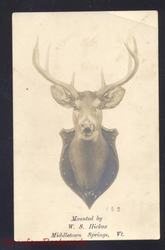 RPPC MIDDLETOWN SPRINGS VERMONT HICKOX TAXIDERY DEER REAL PHOTO POSTCARD VT.