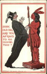 Bernhardt Wall Comic - Confused Drunk Man & Cigar Store Indian c1910 Postcard