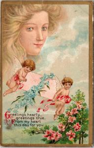 Greetings hearty, greetings true, from my heart this day for you - angel cherub