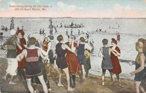 Old Orchard Maine Beach Scene People Dancing Antique Postcard J61964