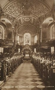 RPPC Interior of St Clement Danes, Strand, London, Raphael Tuck