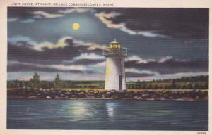 Maine Lake Cobbosseecontee Lighthouse At Night