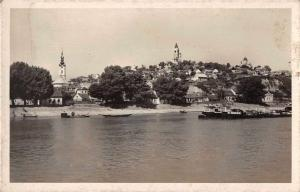 Zemun Serbia Semlin View from Water Real Photo Antique Postcard J80149