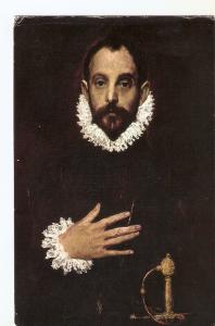 Postal 030176 : Museo del Prado. El Caballero de la Mano al Pecho. Greco